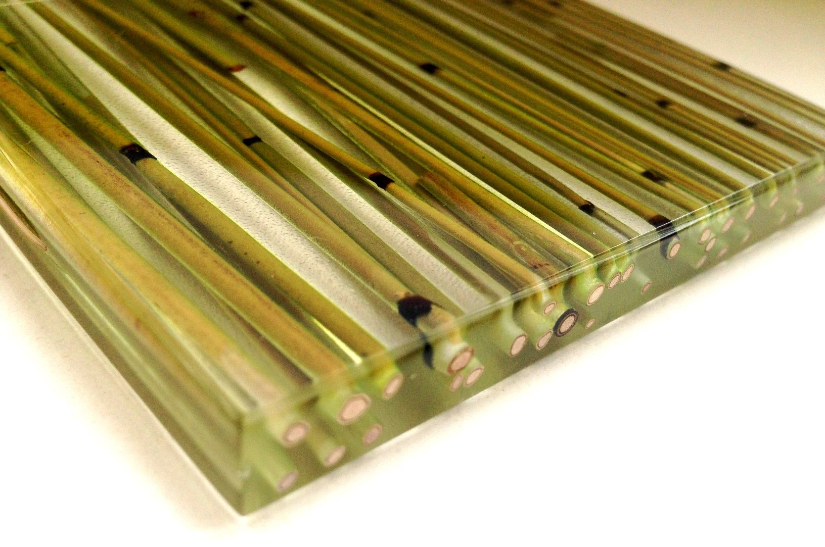 Resin Wall Panel With Organic Green Bamboo Handwork Translucent