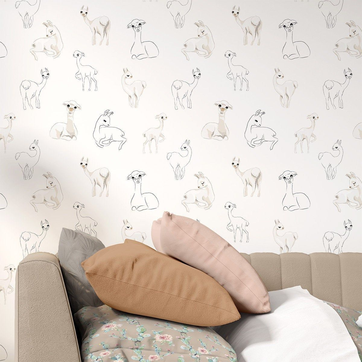 Gender Neutral Llama Wallpaper For Kids Bedroom Feature Wall Etsy Bedroom Etsy Feature Gender Feature Wall Bedroom Peel And Stick Wallpaper Kids Bedroom