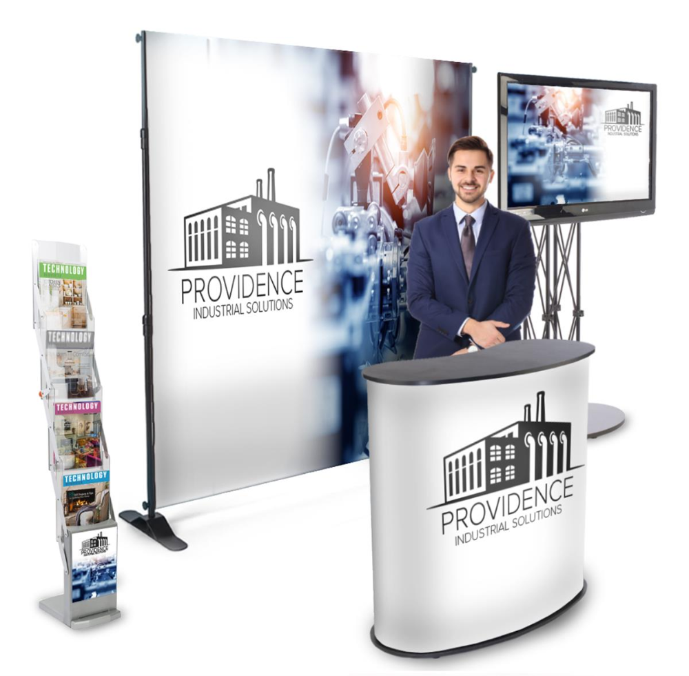 10x10 Trade Show Booth Kit W Step And Repeat Backdrop Counter Tv Stand Mag Rack In 2020 House And Home Magazine Tv Stand Signage Design