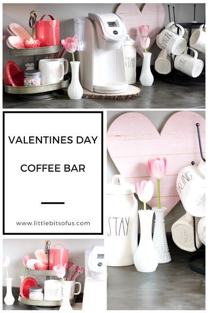 How to decorate a valentines decor to your coffee bar.  Rae Dunn Valentines mugs. Rae Dunn Coffee Bar. Valentines Decor. Coffee Bar.