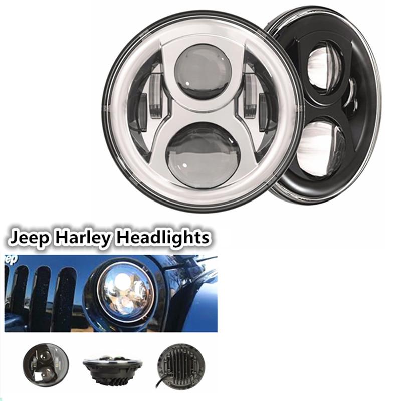 62.00$  Watch here - http://aliq8v.shopchina.info/go.php?t=32776425422 - 7 inch Round Driving  LED Spot light Headlight High Low Beam Headlamp for JeeeP Wrangler Jk Tj Fj Hummer H1 & H2 Harley Davidso 62.00$ #aliexpresschina