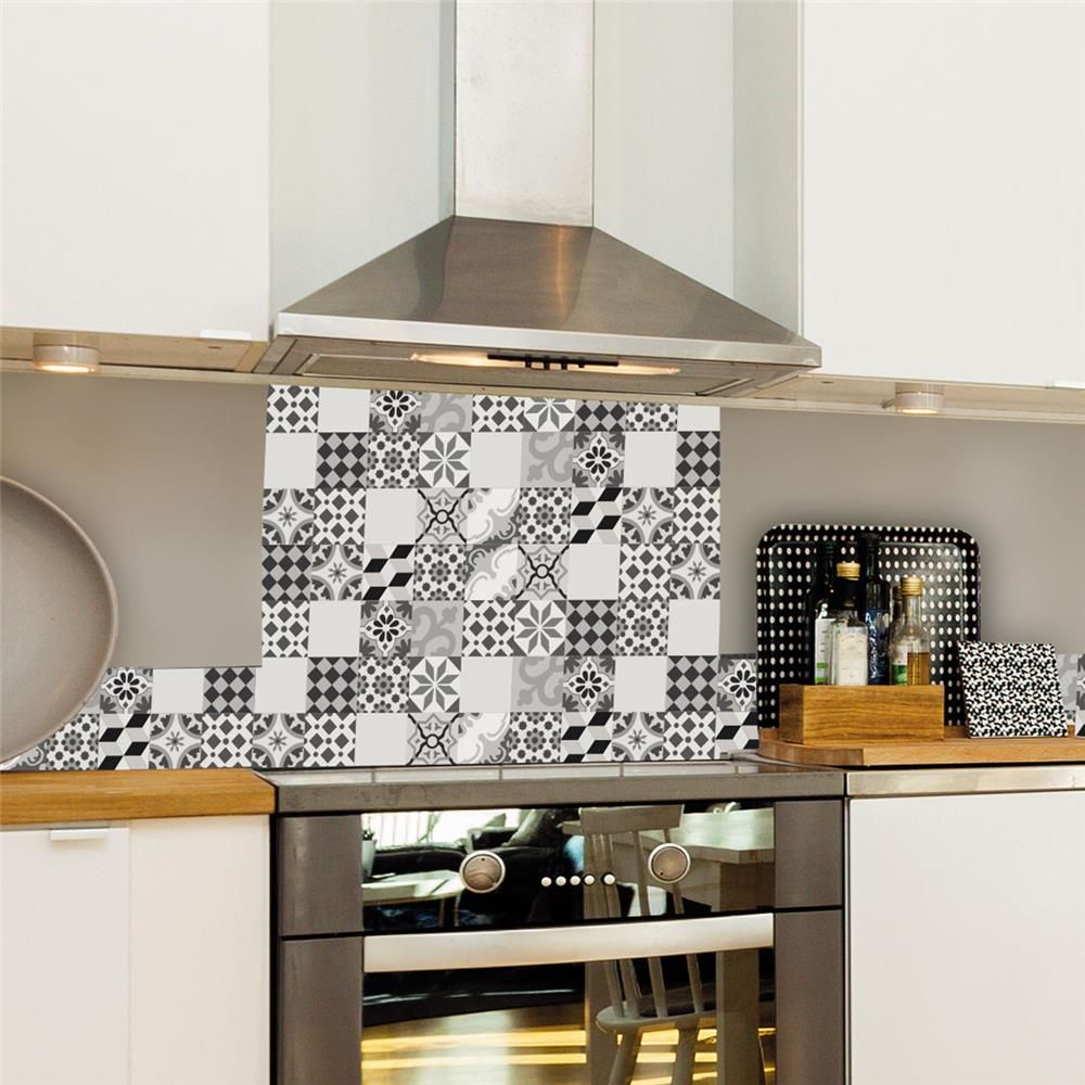 Credence Fond De Hotte Alu Carreaux De Ciment Cambo Gris 60x70