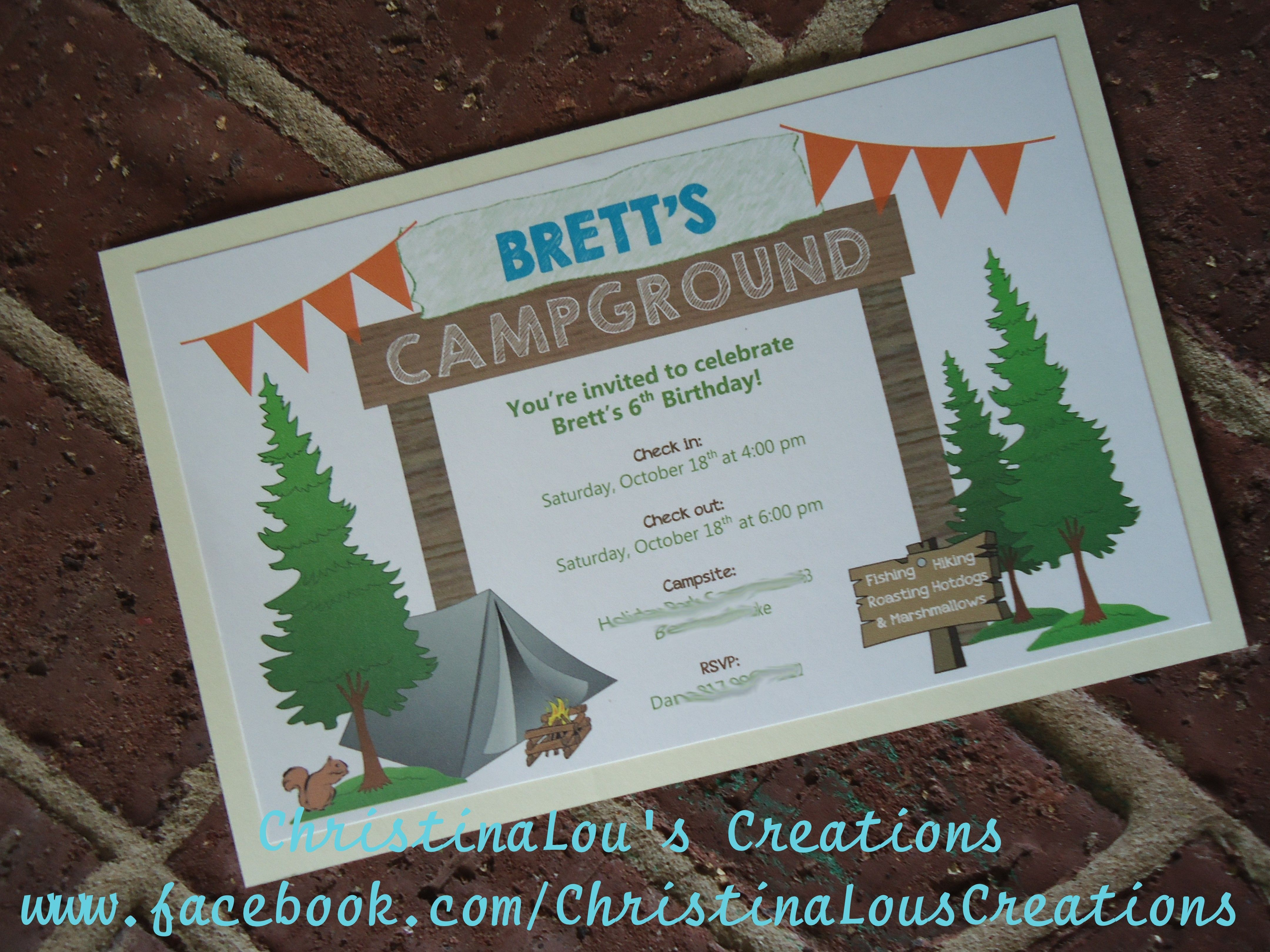 Camping Inspired Party Invitation w/ Envelopes | Camping Inspired ...