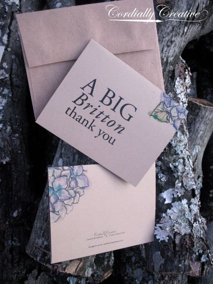 Hydrangea & Lace #wedding #thankyou #stationery www.cordiallycreative.com