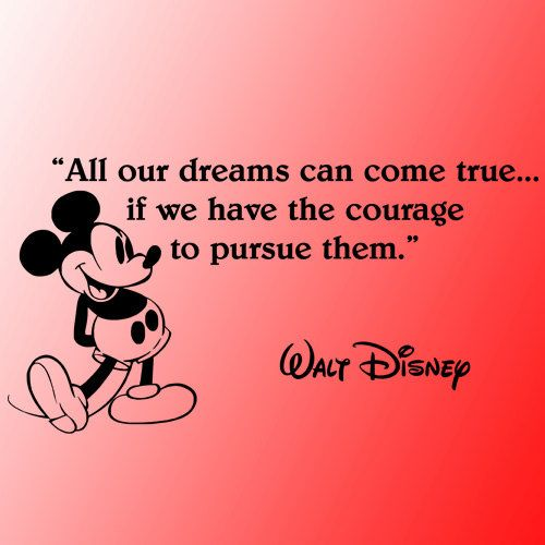 Walt Disney Mickey Mouse dreams can come true wall quote ...