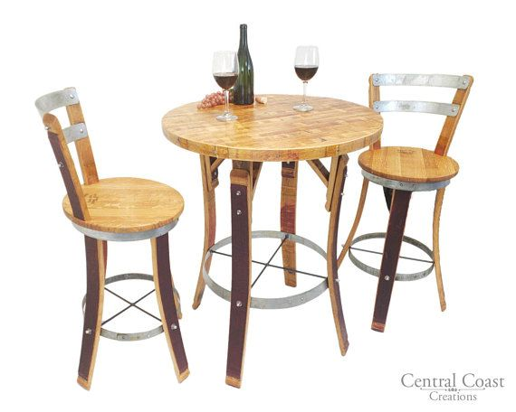 Awesome Wine Barrel Stave Bistro Set Swivel Top Stools Rustic Gmtry Best Dining Table And Chair Ideas Images Gmtryco