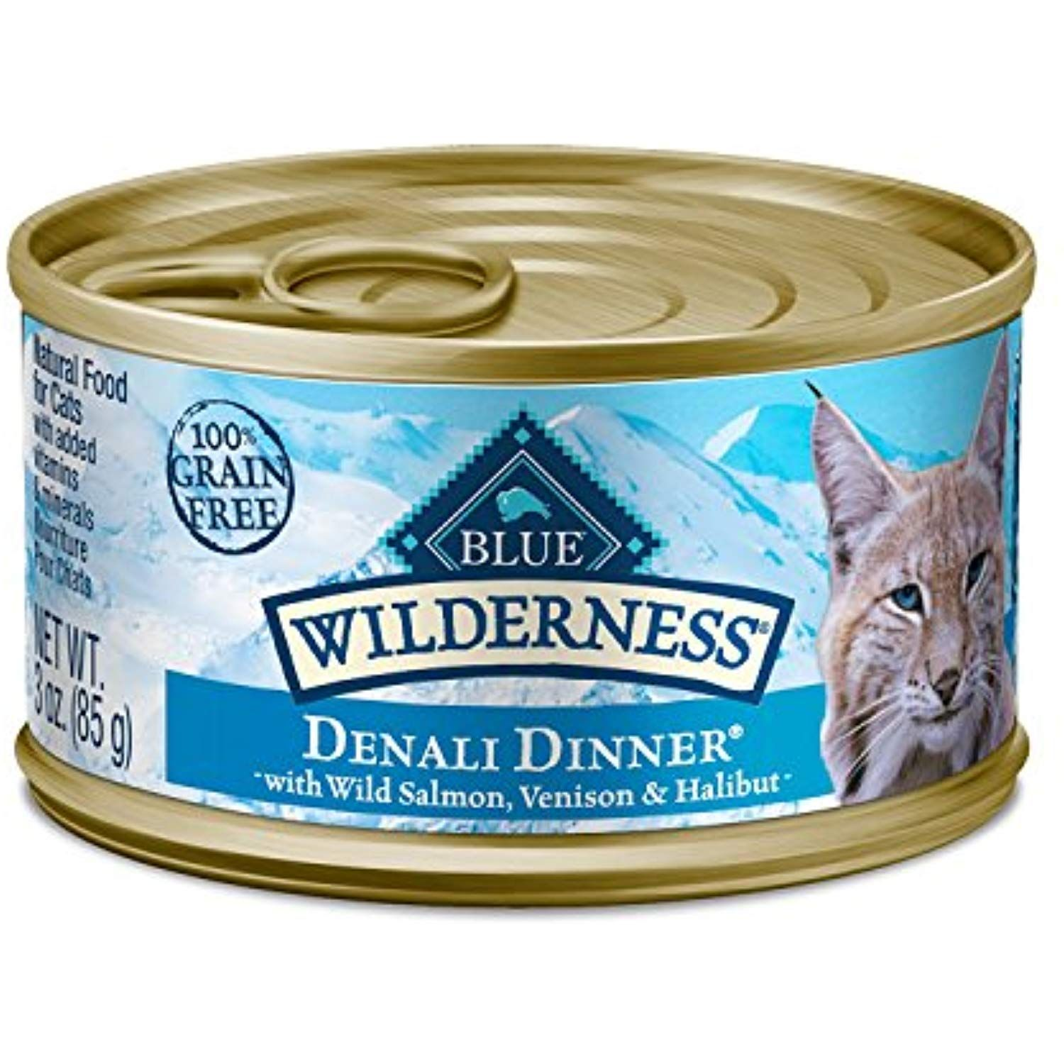 Blue Buffalo Wilderness Denali Dinner With Wild Salmon Venison And Halibut Grain Free Canned Cat Food 3oz Case Of 24 Canned Cat Food Wet Cat Food Cat Food