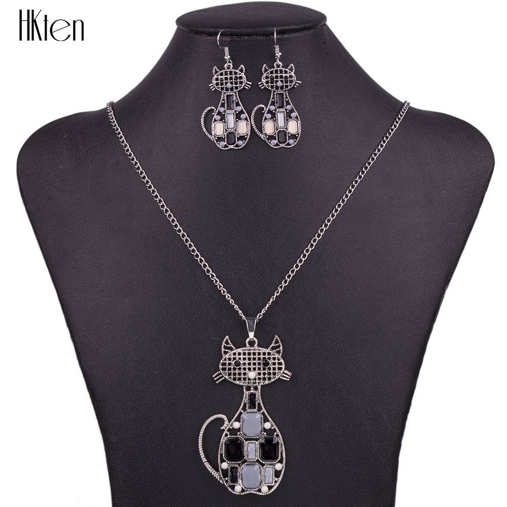 Necklace sets for women jewelry crystal resin unique cat animal