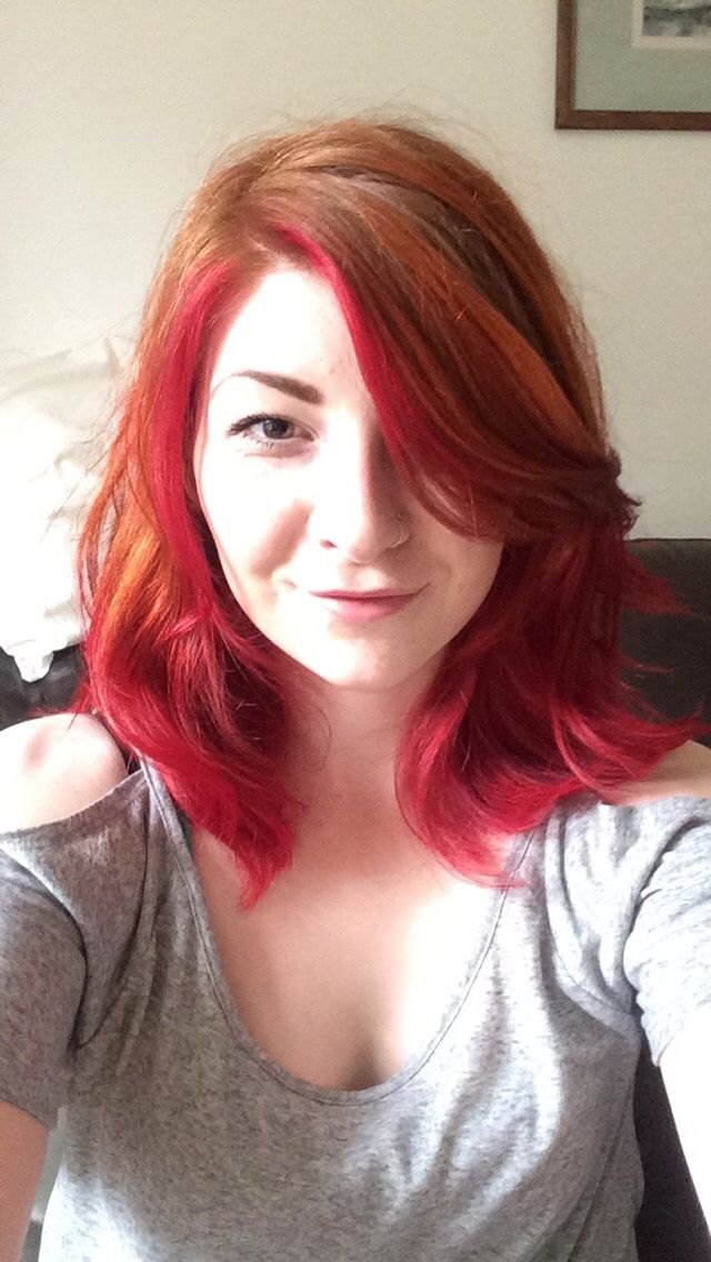 ginger dip dye with pink tips
