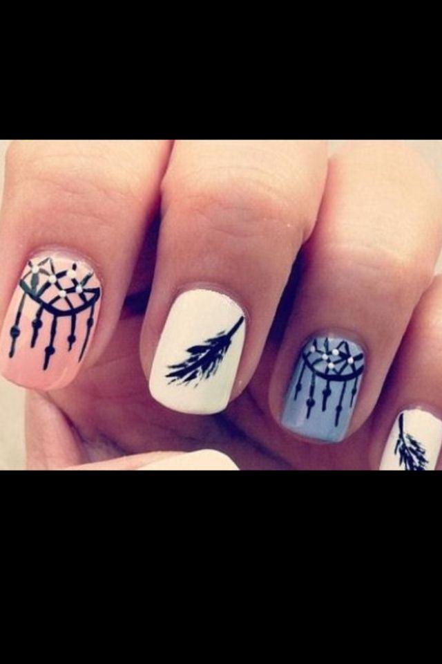 Cute Native American Style Nail Art