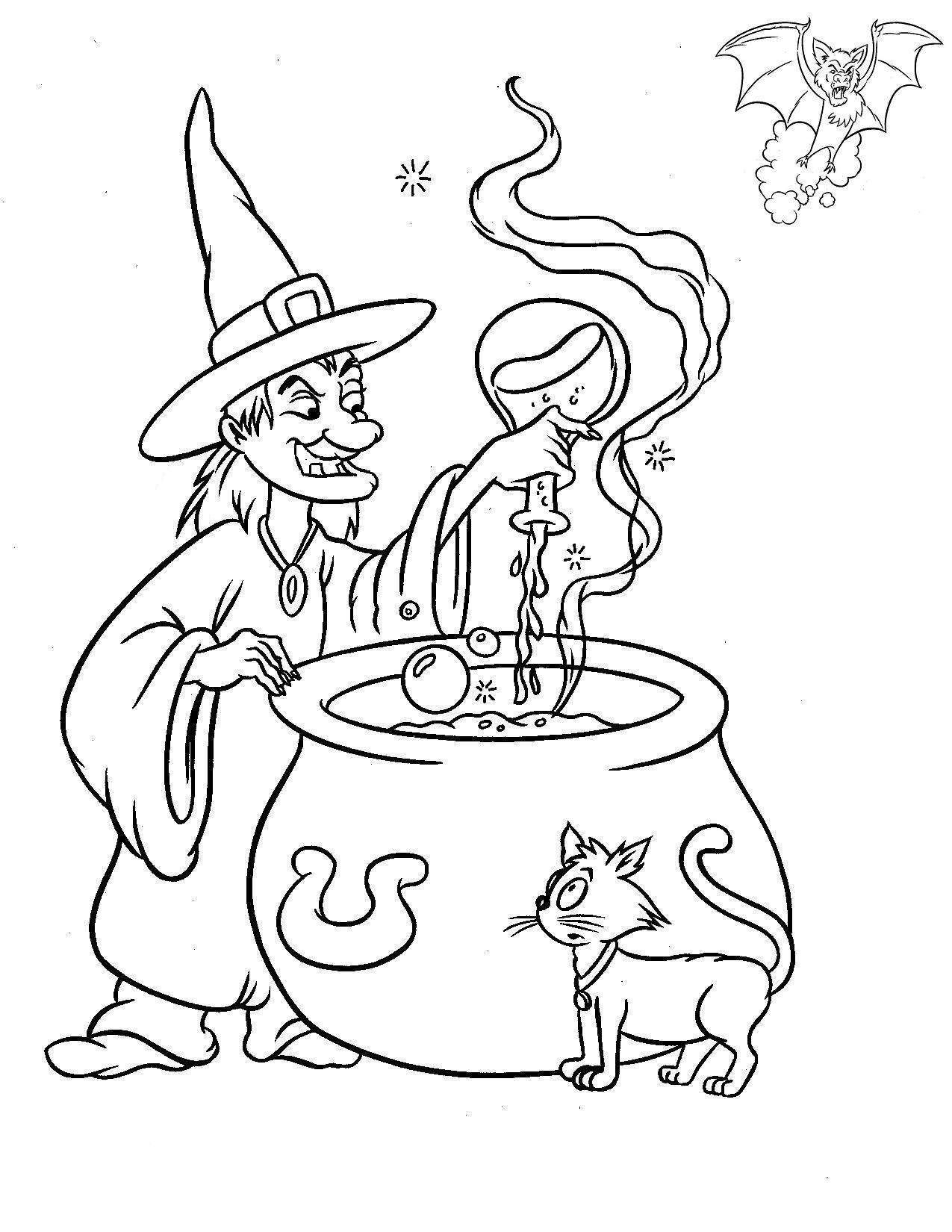 Halloween Witch And Halloween Cat Coloring Pages | Halloween color ...
