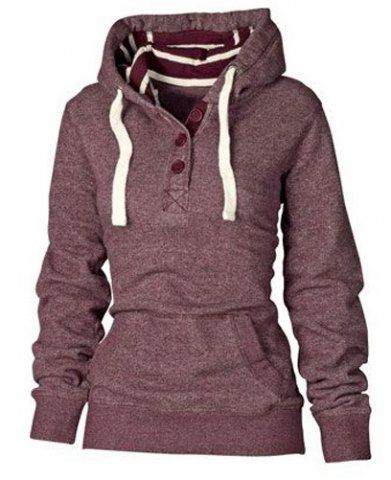 Active Striped Hooded Buttoned Pocket Pullover Hoodie For WomenSweatshirts & Hoodies - RoseGal.com