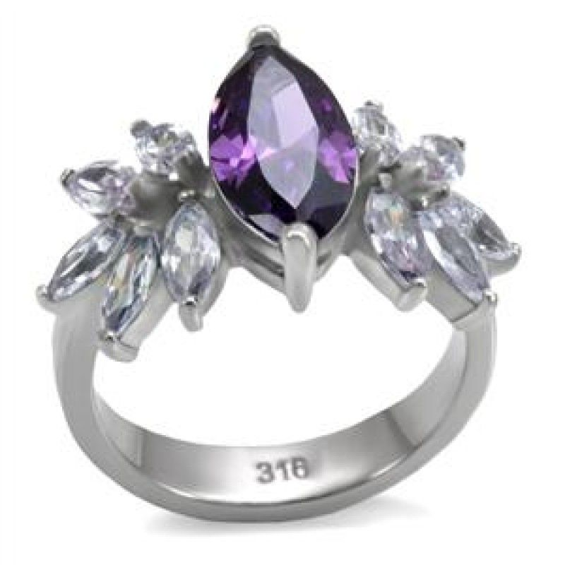 Silver Plated Crossover Ring With Purple And White Cubic Zirconia Stones