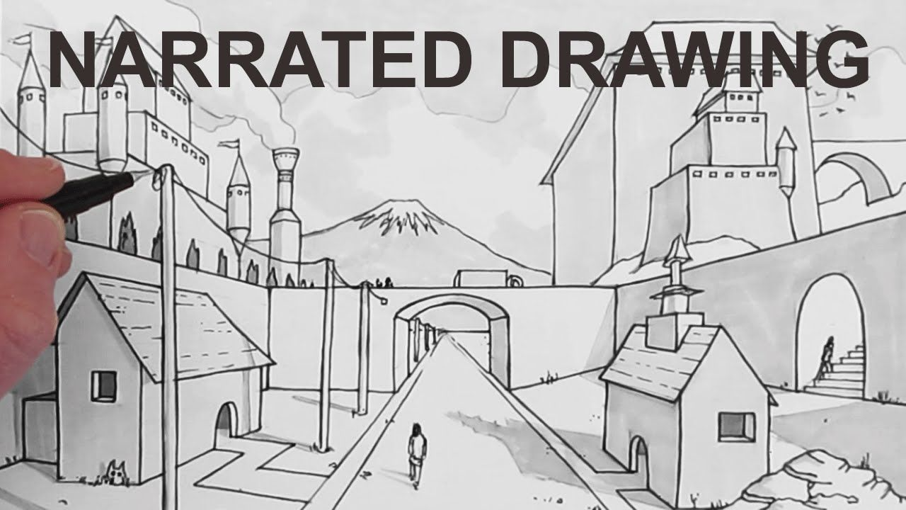 How To Draw A Background Scene In Perspective Narrated Perspective Art Perspective Drawing Lessons One Point Perspective