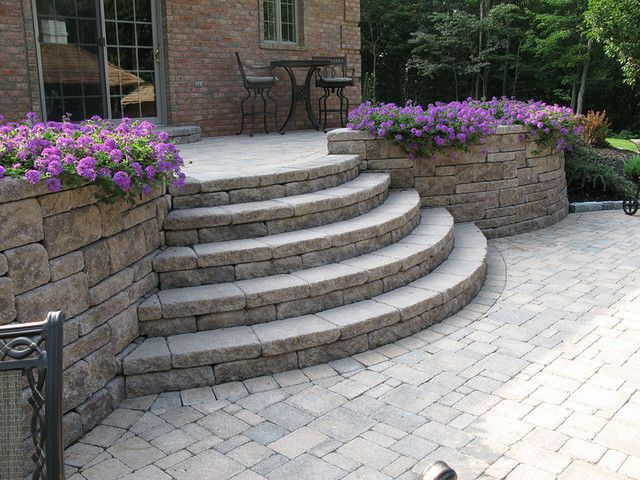 Marvelous Retaining Wall Stairs Design Creative Outdoor Stairs Options Using Allan Block Retaining Walls Ivchic Home Design Patio Stairs Outdoor Stairs Concrete Patio