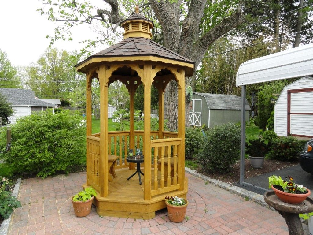 Small Wood Gazebo Has Arch Ceiling With Column And Fences In Yellow Colors  With Sloping Round Roof Top, Small Wood Gazebo Overlooking Beautiful View  In Pool ...