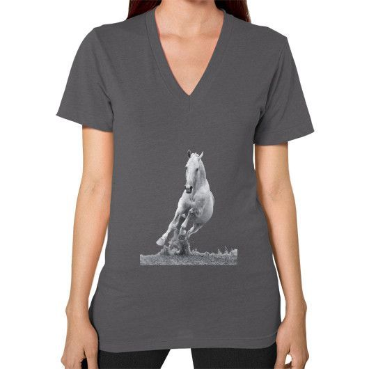 Equestrian Apparel - White Galloping Horse - V-Neck (on woman)