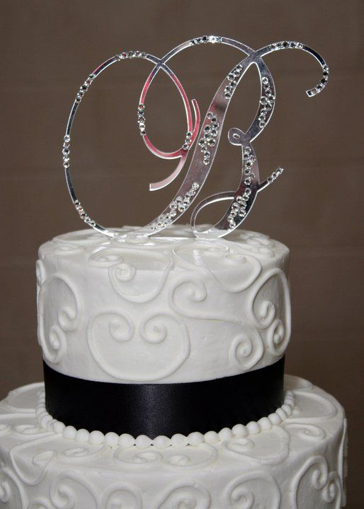 Initial B Wedding Cake Topper With Bling Wedding Cake Topper