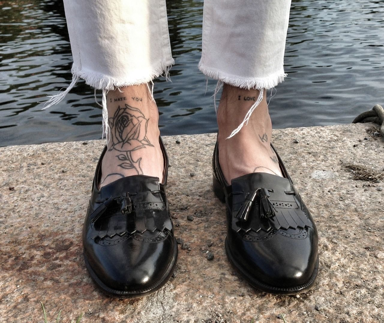 Source blackistheonlycolor via iskra the creator south for Ankle tattoos on men