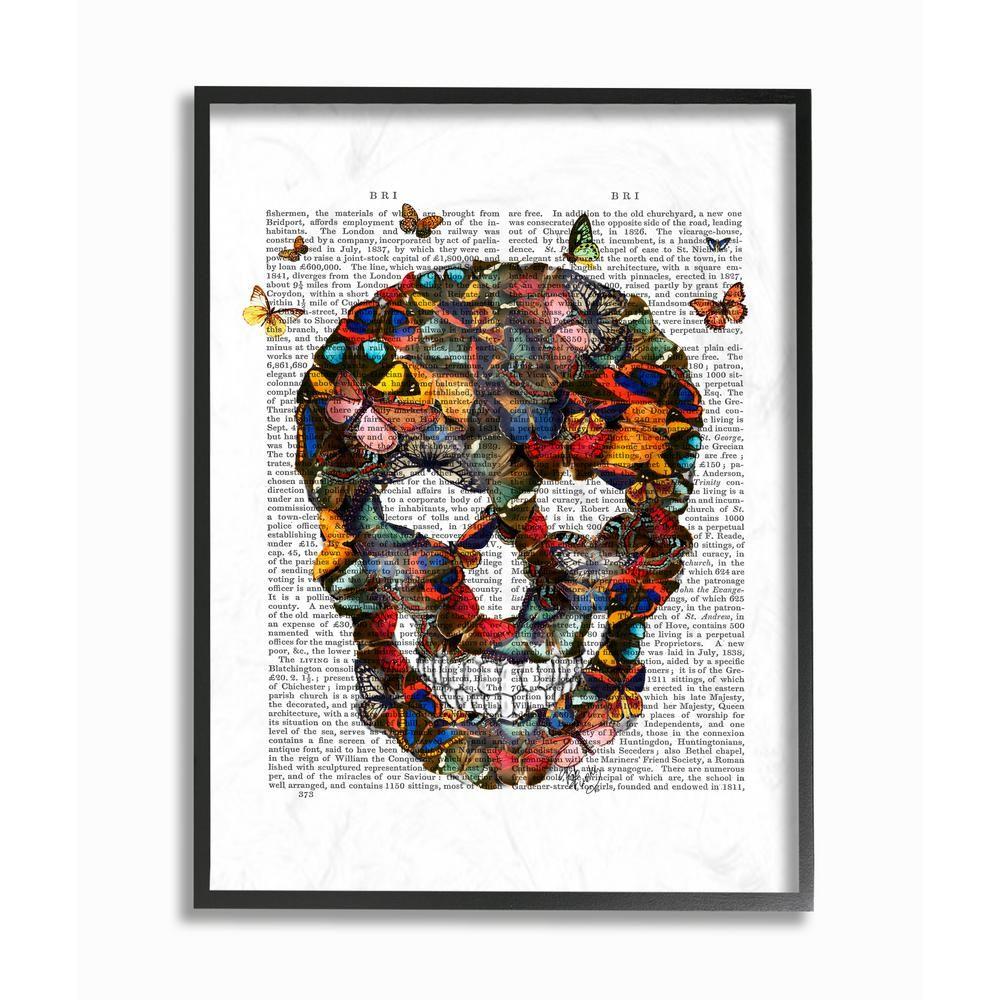 Stupell industries 11 in x 14 in dark rainbow skull of