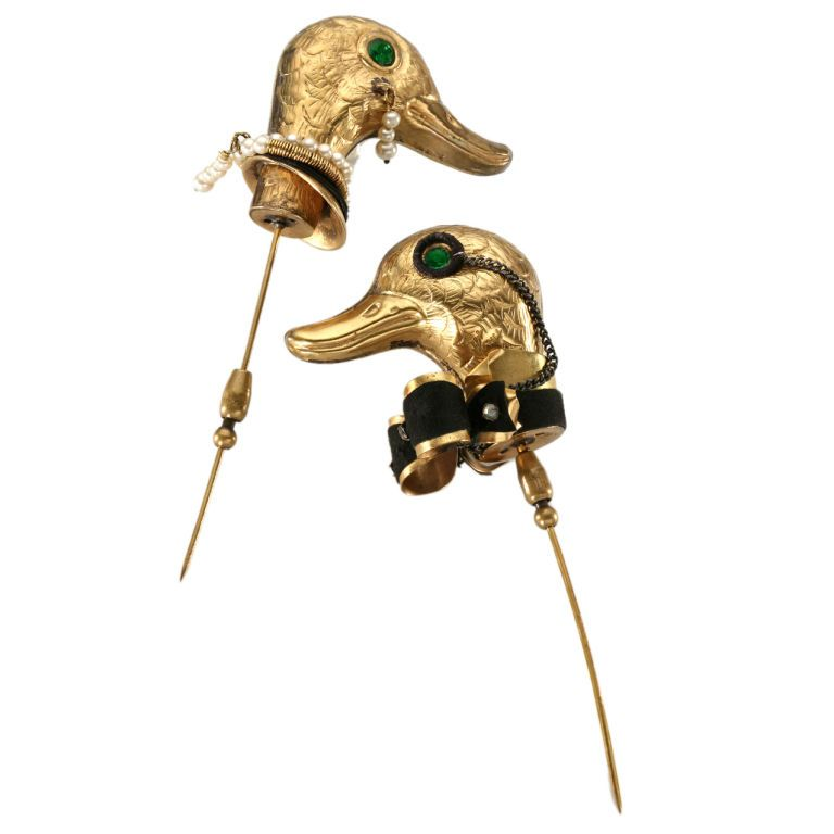 Elsa Schiaparelli couple of ducks' hatpins made by Lina Baretti