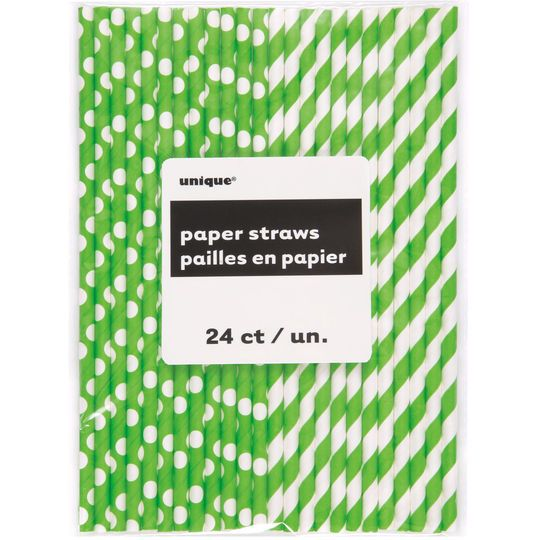 Lime Green Striped & Polka Dot Paper Straws, 24ct