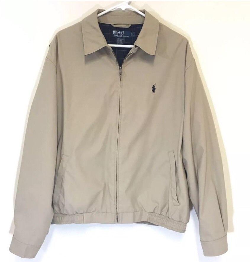 300783f1bd10 Polo Ralph Lauren Men s Full Zip Windbreaker Golf Jacket Khaki Plaid Lined  Sz L