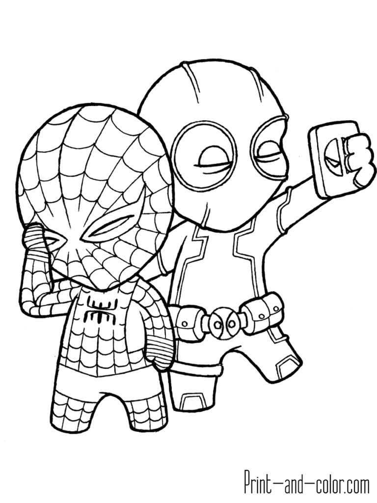 Little Deadpool With Spider Man Spiderman Coloring Superhero Coloring Pages Marvel Coloring