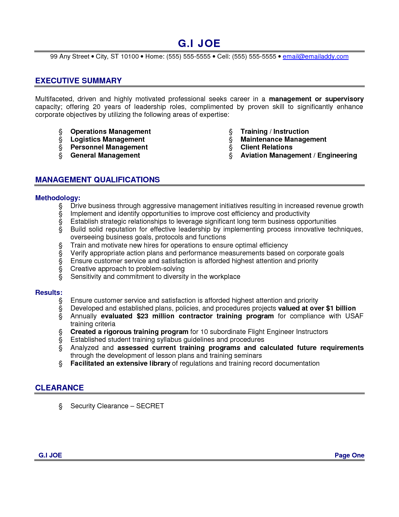 Resume executive summary example