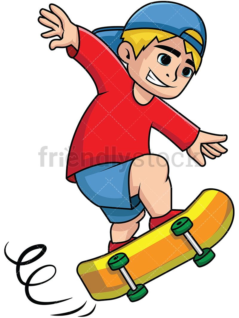 48d8aaa1673 Teen Skateboarding  Royalty-free stock vector illustration of a blond kid  smiling and trying to maintain his balance while running fast with his  skateboard.