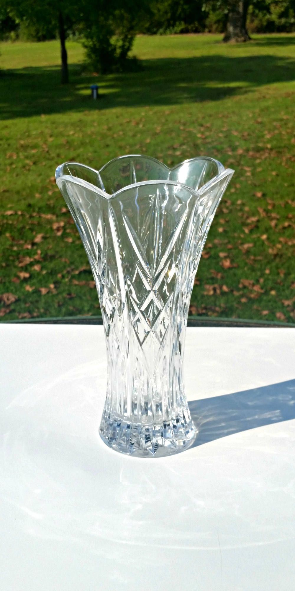 Lg Crystal Vase Crystal Diamond Design Vase Scallop Crystal Vase