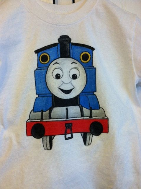 Thomas the Tank Clothing   Custom Clothing Hand Painted Thomas the Tank/Train and Friends Short ...