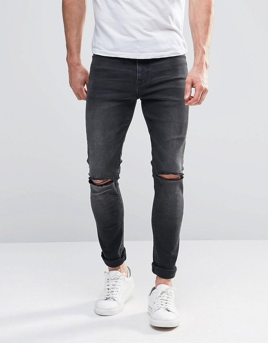 Image 1 of ASOS Super Skinny Jeans With Knee Rips In Dark Gray Wash