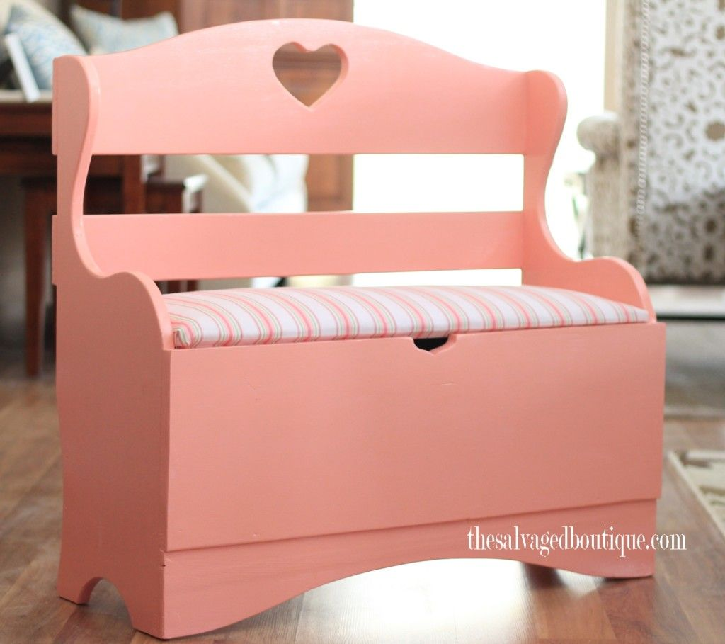 Ava S Pretty Pink Bench And Storage Chest Small Storage Bench Pink Bench Wooden Storage Bench