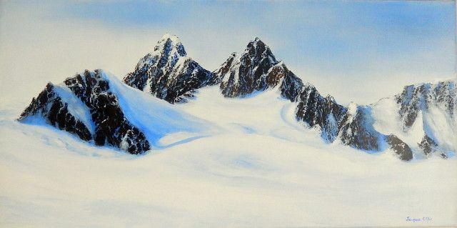 Franz Joseph glacier oil on canvas 12x24in by New Zealand artist Jacquie Ellis