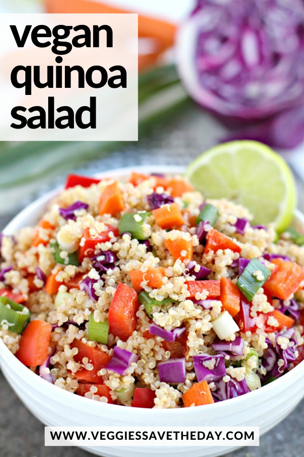 Easy Vegan Quinoa Salad Veggies Save The Day Recipe In 2020 Vegan Salad Recipes Vegan Quinoa Salad Vegan Quinoa