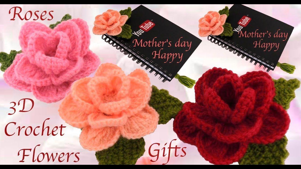 Como hacer flor rosa 3d a crochet como hacer regalos - Regalos faciles y rapidos ...
