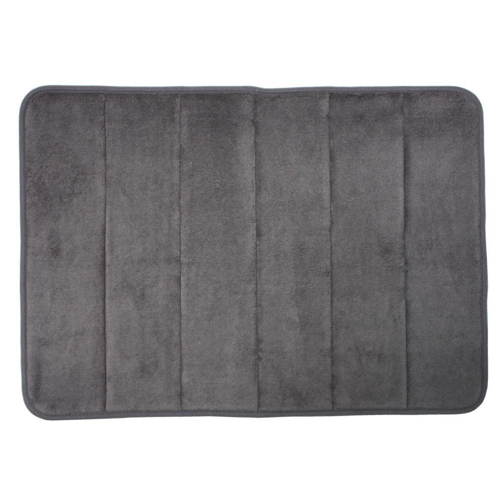J M Home Fashoins 17 In X 24 In Gray Memory Foam Bath Mat
