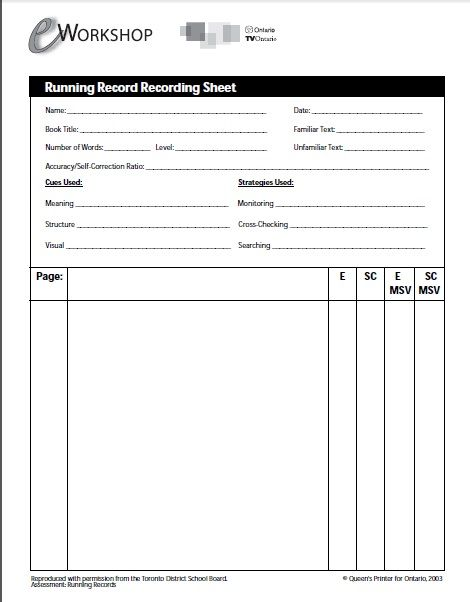 EWorkshops Running Record Recording Sheet  Assessment Reading