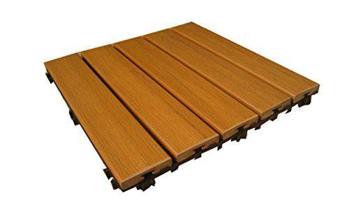 Pure PS Outdoor Deck Patio Flooring Interlocking Tiles X - Teak patio flooring 12x12
