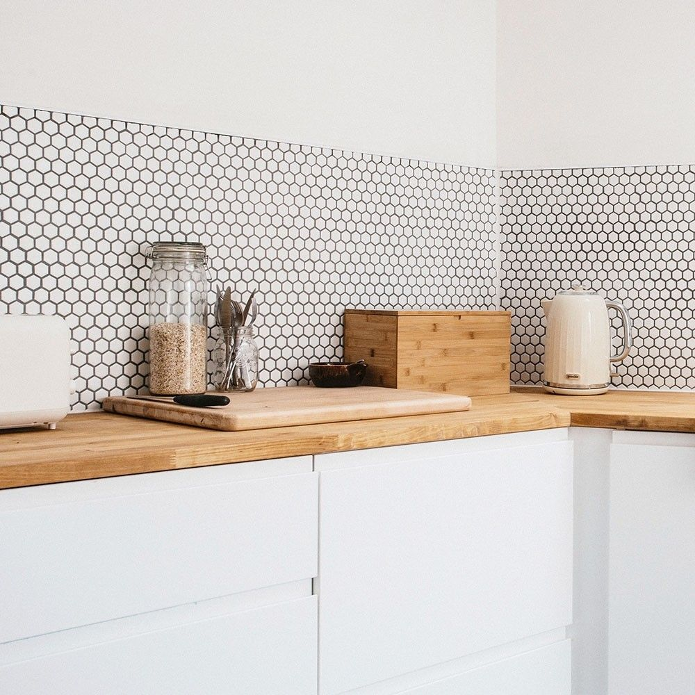 Bijou Matt White Hexagon Mosaic Tiles In 2019 Kitchen