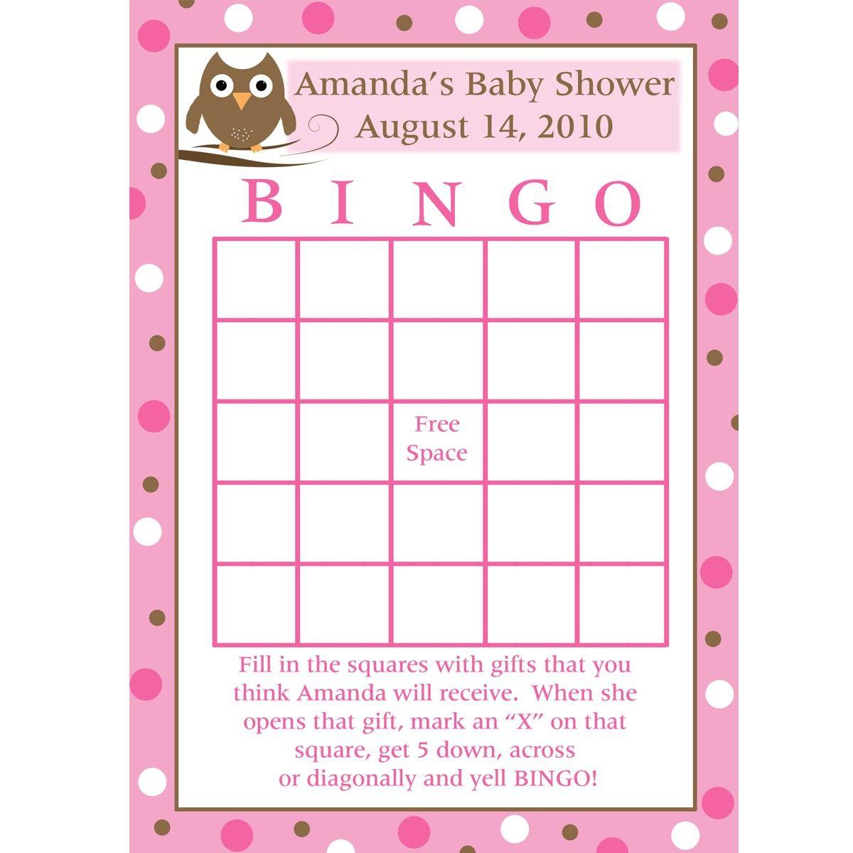 Baby gift bingo make up a set of blank bingo cards its
