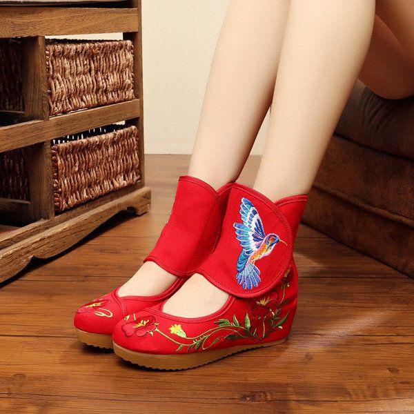 Hot-sale Bird Flower Retro Embroidery Hook Loop Ankle Dance Ballet Flat Shoes…