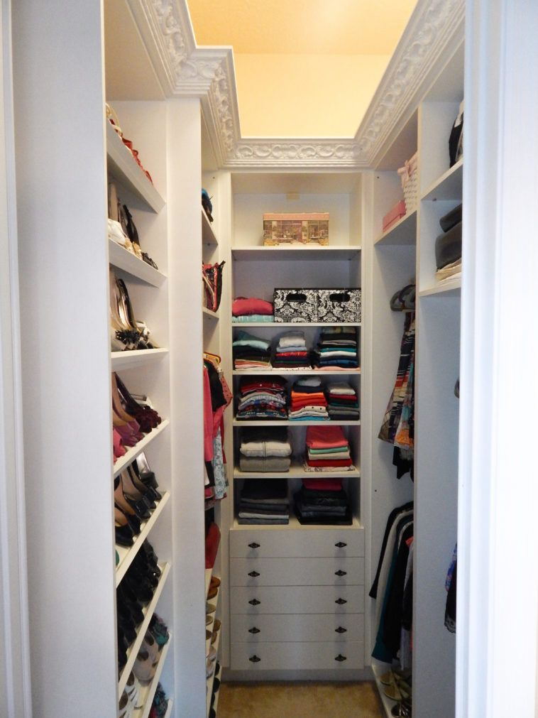 Ultra Small Narrow White Walk In Closet Design Idea With Floor To Ceiling Wall Shelving Unit Plus Chest Of Drawer