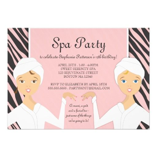 Fun Spa Girl Birthday Spa Party Invitation Zebra Spa party - spa invitation