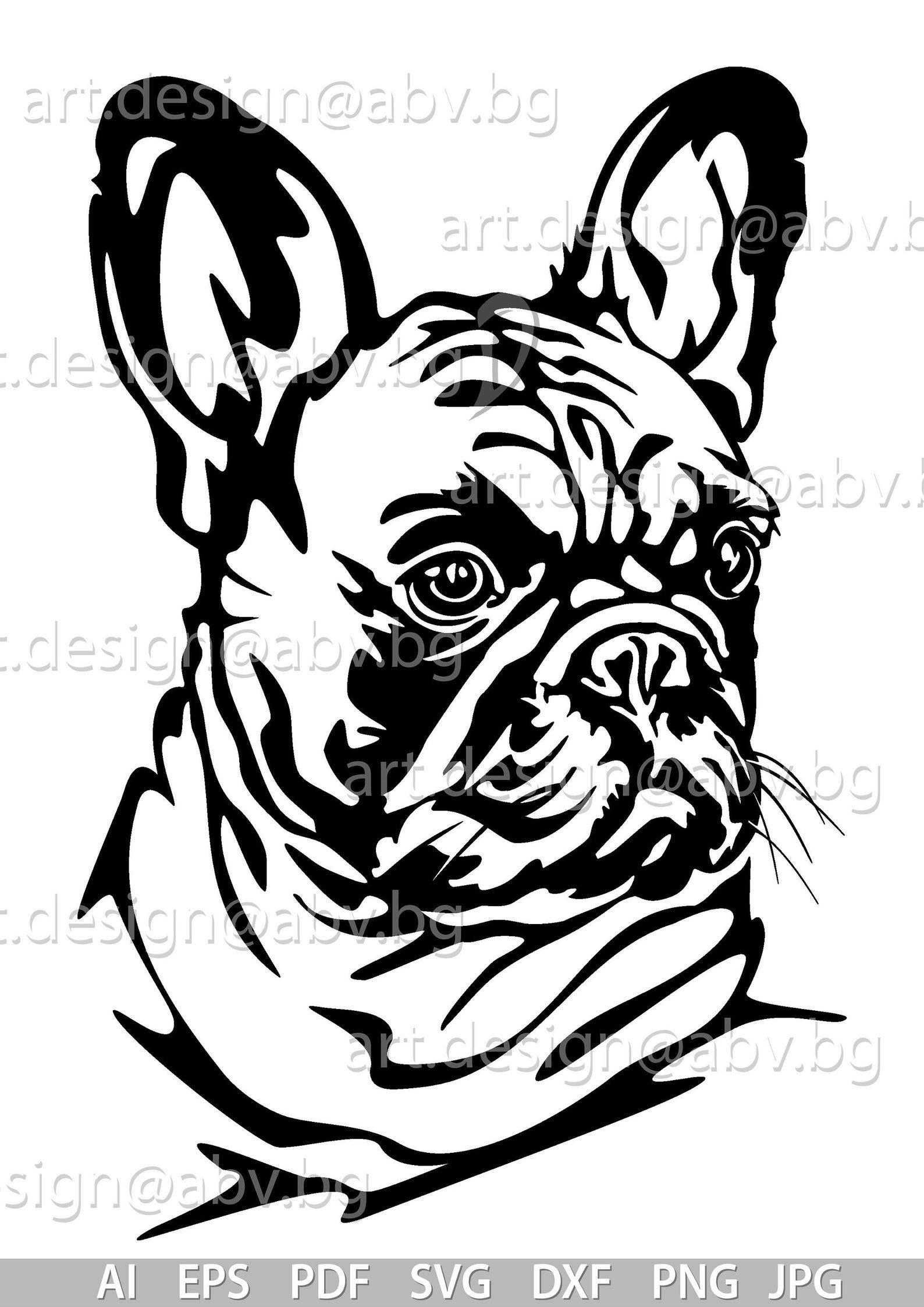 Vector French Bulldog Svg Ai Png Pdf Eps Dxf Jpg Etsy Animal Stencil Art Animal Stencil Bulldog
