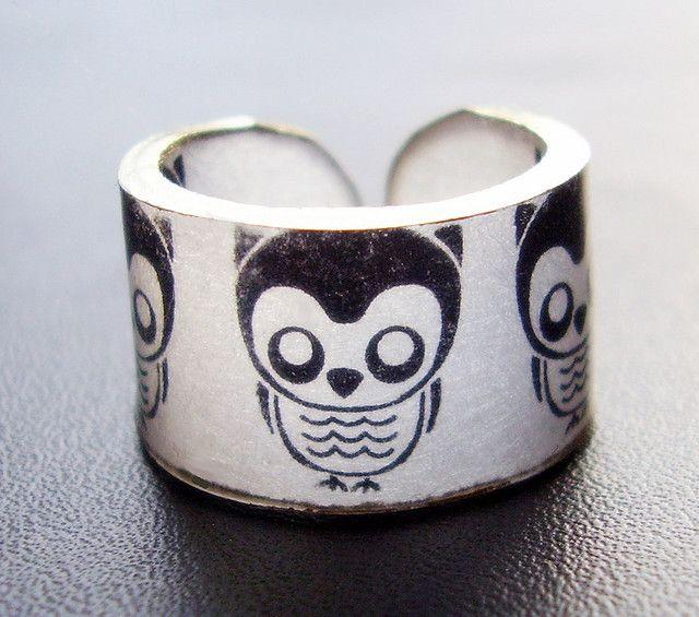 shrinky dink / polyshrink  owl ring