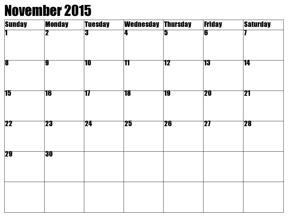 November 2015 Calendar Pdf Printable Calendar Template