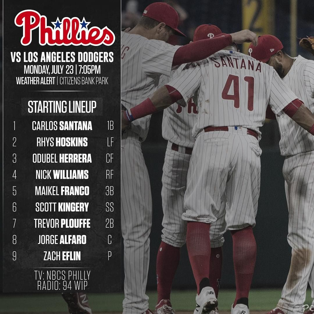 Carlos Santana Will Lead It Off For The Phillies For The Second Consecutive Game As Trevor Plouffe Is In The Starting Lin The Outfield Phillies Carlos Santana