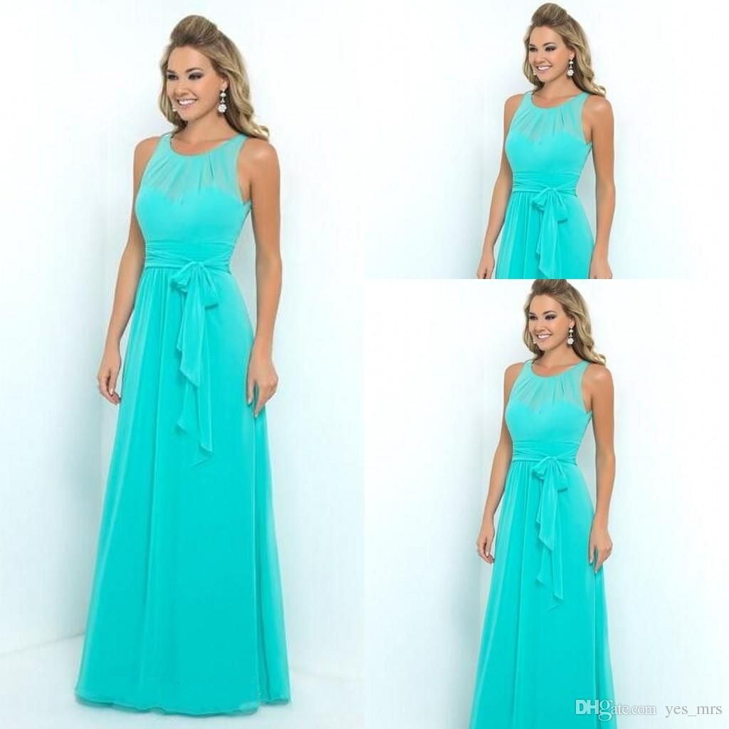 Turquoise bridesmaid dresses 2016 jewel neck illusion chiffon turquoise bridesmaid dresses 2016 jewel neck illusion chiffon summer beach sashes plus size party wedding guest ombrellifo Choice Image